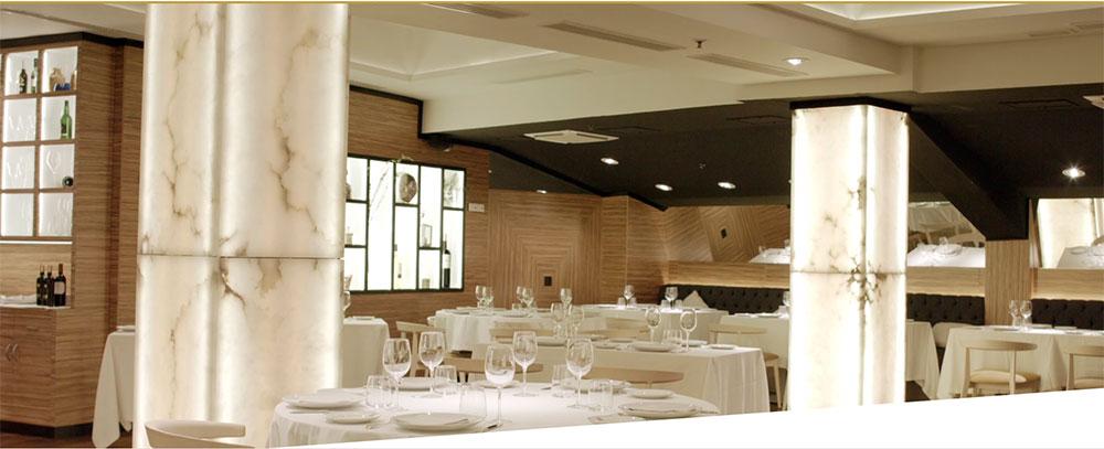 Columnas de alabastro restaurante puerta 57 arastone for Puerta 57 restaurante